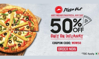 PizzaHut Friday Offer: Avail 50% OFF On Medium Pan Pizzas Take Away Orders
