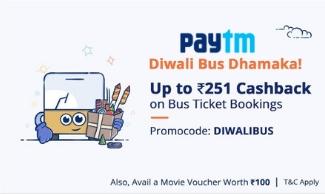 Diwali Offer - Get Rs 251 Cashback On Bus Tickets