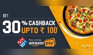 Domino's Amazon Pay Offer : Flat 30% Cashback upto ₹100  on Pizza Orders