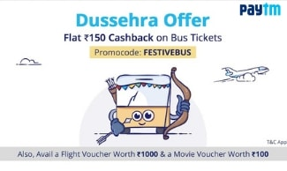 Bus Ticket Bookings@ Up to Rs 150 Cashback - All Users